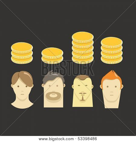 Abstract scheme of people salary