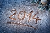 foto of snow border  - New Year 2014 on snow - JPG