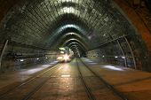stock photo of tram  - Movement Of Tram From Tunnel - JPG