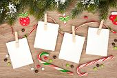 pic of candy cane border  - Blank christmas photo frames with fir tree and decor - JPG