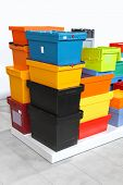 picture of crate  - Colourful plastic crates and boxes for delivery shipping - JPG