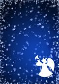 picture of angel-trumpet  - Christmas blue background with snowflakes and angel - JPG