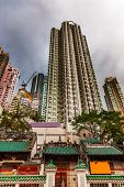 Man Mo Temple  Apartment Buildings Hong Kong China