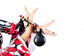 pic of castanets  - Hands detail of Flamenco dancer in beautiful dress on white background - JPG