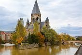 stock photo of moselle  - Temple Neuf de Metz on Moselle river  - JPG