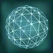 stock photo of eminent  - Abstract geometric sphere composition with glowing points - JPG
