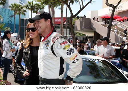LOS ANGELES - APR 12:  Amy Purdy, Phil Keoghan at the Long Beach Grand Prix Pro/Celeb Race Day at the Long Beach Grand Prix Race Circuit on April 12, 2014 in Long Beach, CA