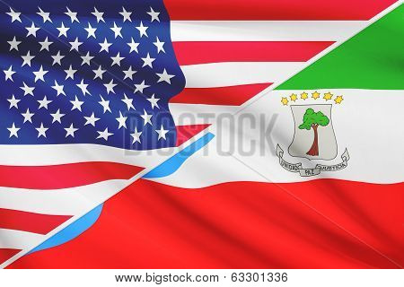 Series Of Ruffled Flags. Usa And Republic Of Equatorial Guinea.