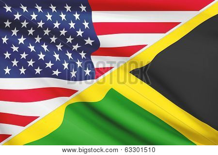 Series Of Ruffled Flags. Usa And Commonwealth Of Jamaica.