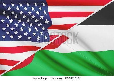Series Of Ruffled Flags. Usa And Hashemite Kingdom Of Jordan.