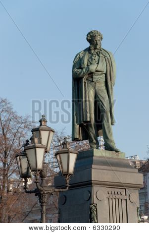 Monument to Russian poet Pushkin in Moscow