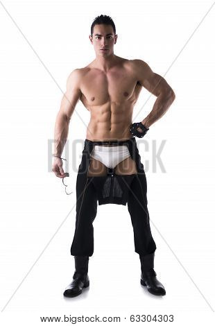 Muscular Shirtless Young Man With Handcuffs And Studded Glove
