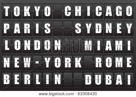 Flight destination, information display board named world cities Tokyo, Chicago, Paris, Sydney, London, New York, Berlin, Dubai, Miami, Roma. Scoreboard airport. Illustration. Vector.