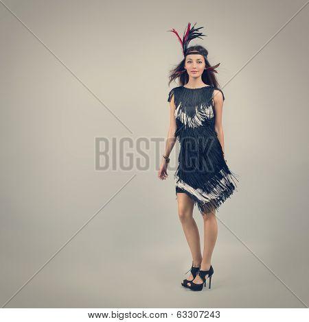 Retro Fashion Woman on Gray Background