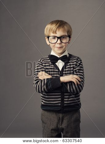 Boy In Funny Glasses, Little Child Fashion Studio Portrait, Kid Smart Casual Clothing, Arms Crossed