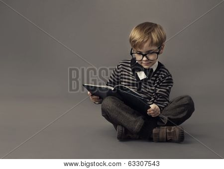 Boy Child Read Book, Clever Kid in Glasses, Children Education, Gray