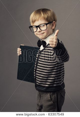 Boy Little Smart Child In Glasses Showing Blank Card Certificate, School Education Advertisement