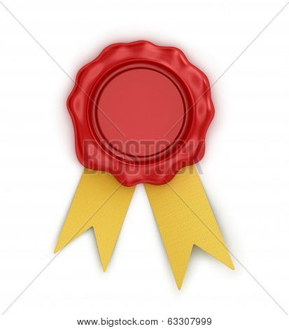 red wax seal with ribbon on isolated white background