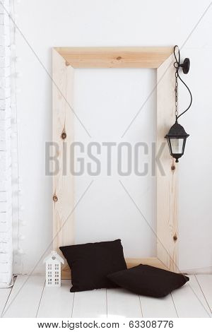 Black and white vintage interior decor in scandinavian style