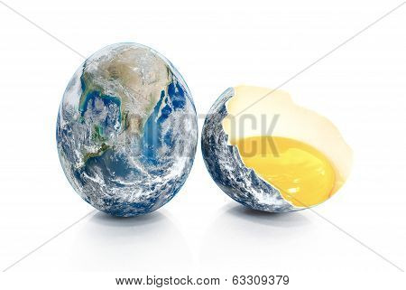 Earth In The Form Of Broken Chicken Eggs.