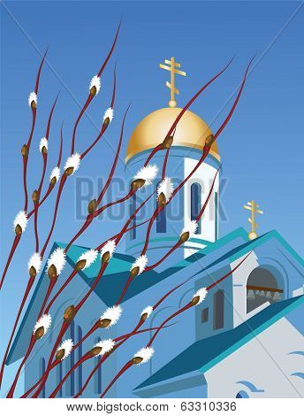 Orthodox church and willow branches
