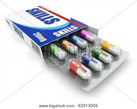 Skills for success. Box of pills with a list of positive qualities for employment. 3d