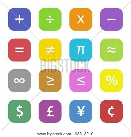 Colorful math financial symbols set