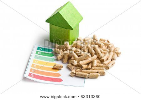 The concept of ecological and economic heating. Wooden pellets.