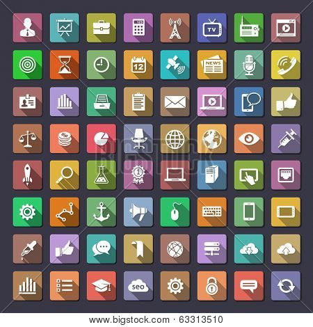 64 icons for web and app. Flaticons series (metro style flat icons with long shadow)