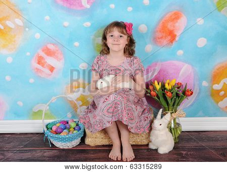 Beautiful Girl At Easter With Her Bunny