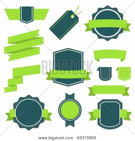 Vector Stickers and Badges Set 10. Flat Style.