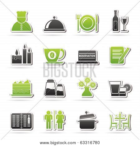 Restaurant, cafe and bar icons