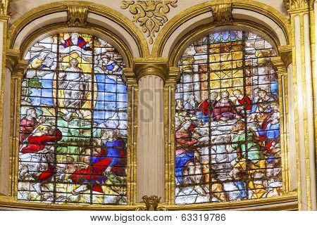 Ascension Last Supper Stained Glass Basilica Cathedral Andalusia Granada Spain