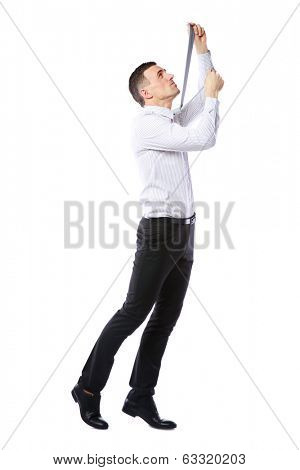 Businessman in suit hanging himself on tie over white background
