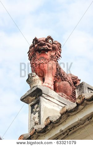 Chinese Guardian Lion. Lin Kai Temple In Macau