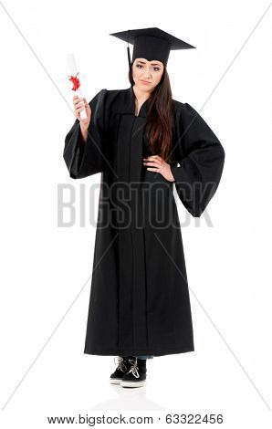 Young graduate girl student in mantle with diploma, isolated on white background