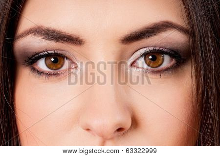 Close-up portrait of caucasian girl with beautiful eyes