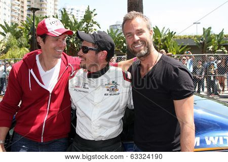 LOS ANGELES - APR 12:  Michael Trucco, Nick Wechsler, JR Bourne at the Long Beach Grand Prix Pro/Celeb Race Day at the Long Beach Grand Prix Race Circuit on April 12, 2014 in Long Beach, CA
