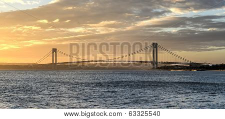 Verrazano Narrows Bridge At Sunset