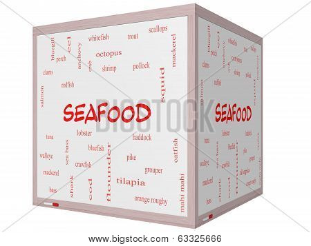 Seafood Word Cloud Concept On A 3D Cube Whiteboard
