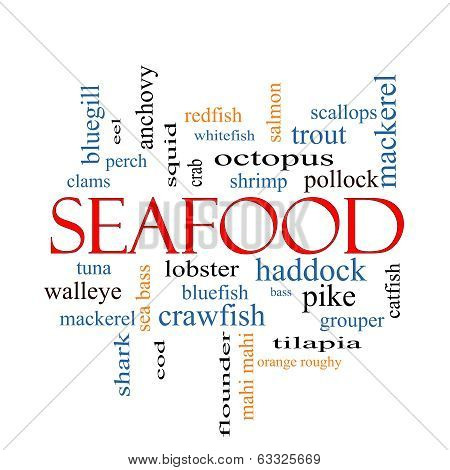 Seafood Word Cloud Concept