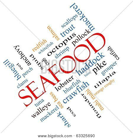 Seafood Word Cloud Concept Angled