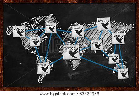 World tweet Connection on Blackboard