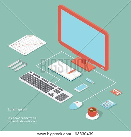 Vector workplace in flat style