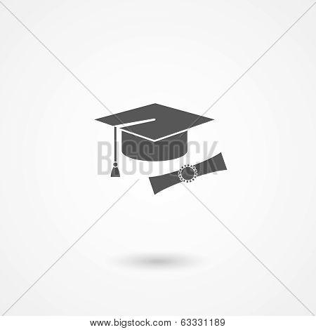 Graduation cap and diploma icon