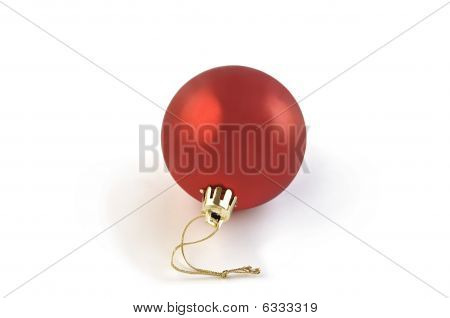 Christmas Red Ball Isolated Over White.