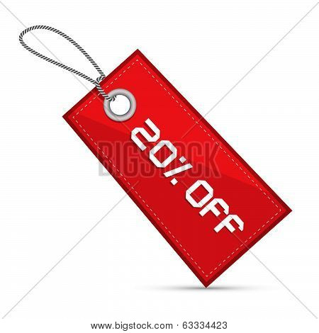 Twenty Percent Off Red Discount Sale Paper Label, Tag With Strings