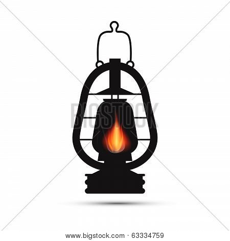 Vintage Lantern, Gas Lamp Illustration Isolated on White Background