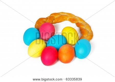 Many Easter eggs in a baked pigtail