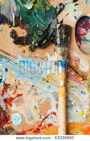 Paintbrush On Wooden Oils Artistic Pallette